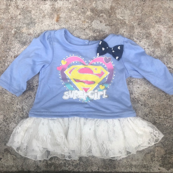 DC Comics Other - Supergirl DC Comic Infant Top 0-3 Months Bow Blue